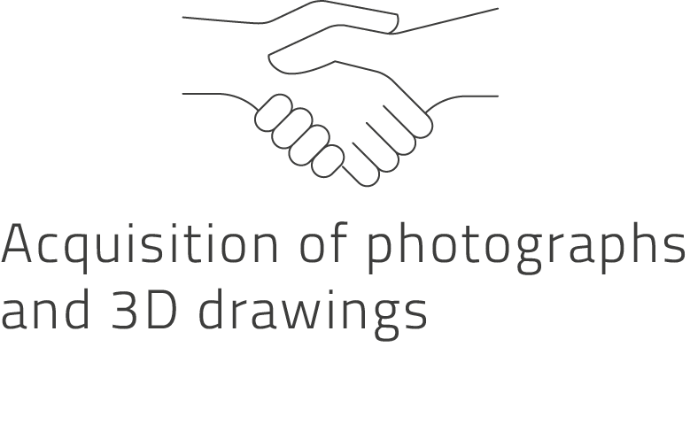 Acquisition of photographs and 3d drawings